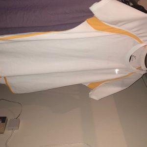 Nike Gold and white Dri-Fit shirt